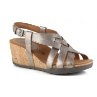 Bussola Soft Metallic White Gold NYNETTE Adjustable Back Womens Wedge Sandals NYNETTE