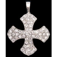 PD1039C Silver Strike Clear Crystal Maltese Cross Pendant