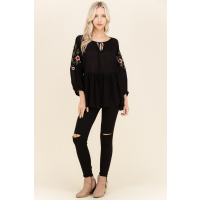 Polagram Black Floral Embroider Peplum Womens Top PST6080