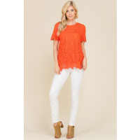 Polagram Tangerine Lace Round Neck Womens Top PST6150-C