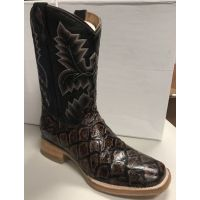 Cowtown Boot Chocolate Pirarucu Big Bass Fish Print Men's Boot Q158
