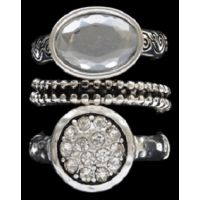R1082ASCL Silver Strike Clear Crystal Ring