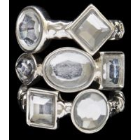 R1083ASCL Silver Strike Clear Crystal Stacking Ring