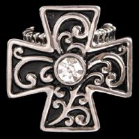 R2035R Silver Strike Black & Crystal Cross Ring