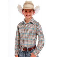 R2S1000 Dobby Plaid Boys Long Sleeve Snap Panhandle Slim Western Shirt