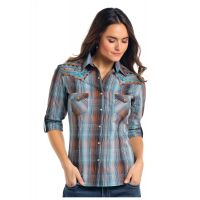 Panhandle Slim Wolcott Vintage Ombre Plaid Long Sleeve Snap Shirt R4S7583