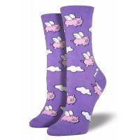 SockSmith Purple Womens When Pigs Fly Socks SSW1355-LVD