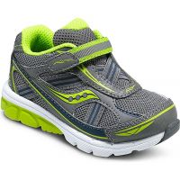 Saucony Baby Ride Velcro Grey/Lime Fabric Kids Athletic ST5374I