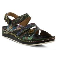 L'Artiste by Spring Footwear SUMACAH Black Multi Leather Womens Adjustable Strap Sandals