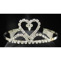 T-70 HEART TIARA WITH CURVED MOUNDS