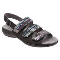 T1709-095 Black Multi Kendra Adjustable Strap Womens Trotter Sandals