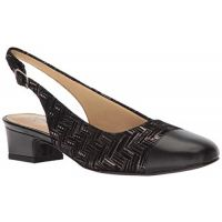 Trotters Black Metallic Woven Sling Back Womens Dress Shoe T7001-013