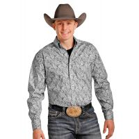 Panhandle Slim Tuf Cooper Collection Long Sleeve Button Down Paisley Print Grey Mens Shirt TCD3736