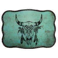 Wallet Buckle Turquoise Cow Skull with Feathers Belt Buckle