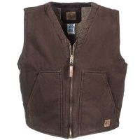 Berne Bark Sherpa Lined Washed Cotton Duck Mens Work Vest VW531-BB