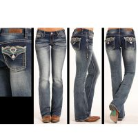 Rock and Roll Cowgirl Aztec Low Rise Boot Cut Extra Stretch Womens Jeans W0-3383