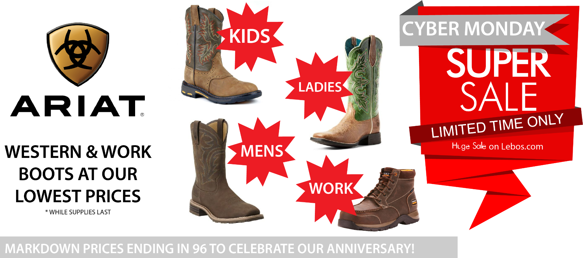 WESTERN & WORK BOOTS AT OUR LOWEST PRICes ariat