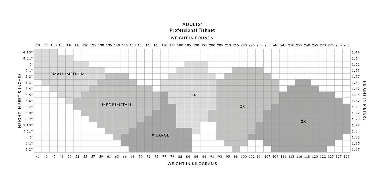 Capezio Professional Fishnet Size Chart